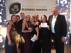 The Pave Aways team celebrate being crowned Company of the Year at the 2019 Shropshire Chamber Business Awards copy